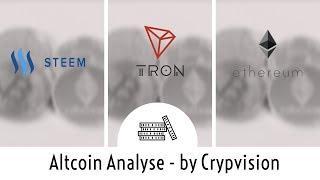 Mögliche Preisentwicklung für Steem, Tron und Ethereum!