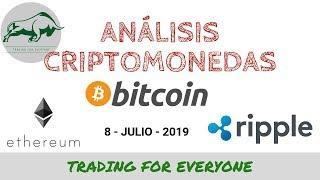 Análisis Criptomonedas: Bitcoin - Ethereum - Ripple (btcusd - ethusd - xrpusd) 8-7-19
