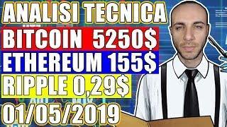 ANALISI TECNICA: BITCOIN 5250$ - ETHEREUM 155$ - RIPPLE 0.29$ [01-05-2019]