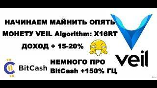 НАЧИНАЕМ МАЙНИТЬ ОПЯТЬ МОНЕТУ VEIL Algorithm: X16RT ДОХОД + 15-20% , ТАКЖЕ НЕМНОГО ПРО BitCash ГЦ!