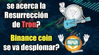bitcoin cae, binance coin se va desplomar?, se acerca la resurrección de tron?