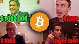 Bitcoin Bottom Theories: Tone Vays, Tyler Jenks, John McAfee, Alessio Rastani, Sunny Decree