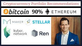 Cryptocurrency portfolio: Bitcoin BTC & Ethereum ETH 90%;  Stellar network XLM, MakerDao MKR, & more